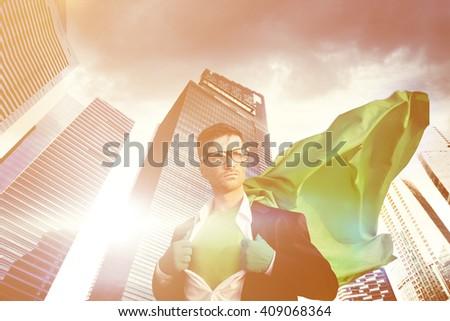Businessman Superhero Building Leader Concept - stock photo