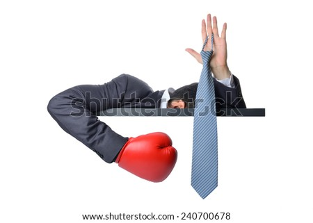 businessman surrender by show hand up with neck tie isolated on white - stock photo
