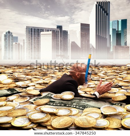 Businessman swimming in a pool of money - stock photo