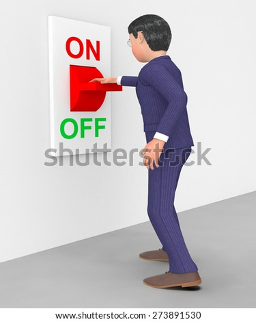 Businessman Switched Off Indicating Save Energy And Choice - stock photo