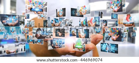 Businessman switching pictures on modern interface '3D rendering'