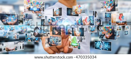 Businessman switching pictures on modern interface 3D rendering