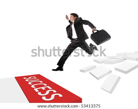 Businessman take a risk to follow the way of success
