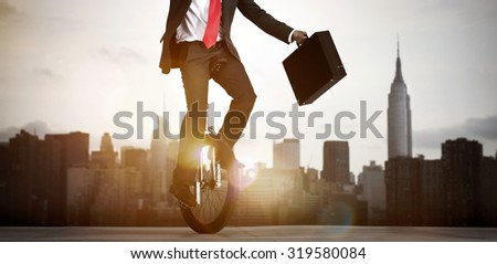 Businessman taking a risk in New York city. - stock photo