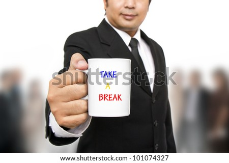 Businessman taking break in office
