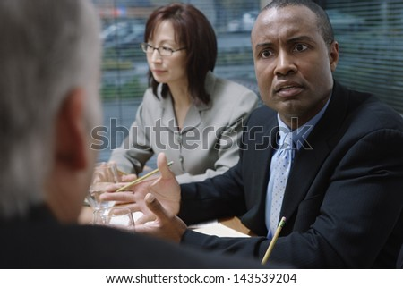 Businessman talking during a meeting