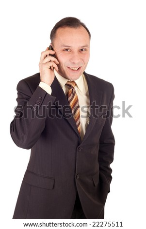 businessman talking into cellphone on white background