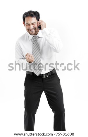 businessman talking on cell phone isolated on white background - stock photo