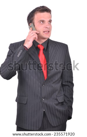 Businessman talking on his smartphone