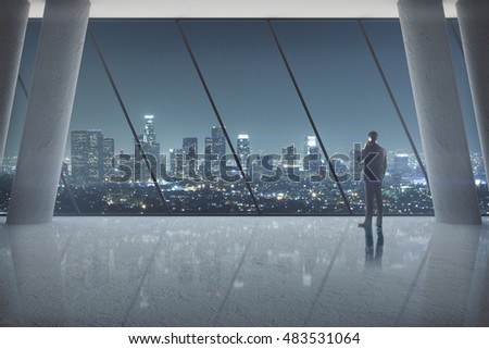 Businessman talking on phone in spacious interior with glossy floor, columns and abstract window with night city view. 3D Rendering