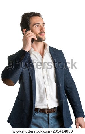 Businessman talking on the phone, isolated in white - stock photo