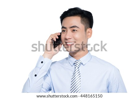 Businessman talking on the phone on white