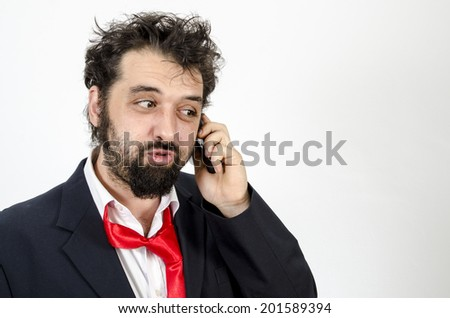 Businessman Talking On The Phone -  Physical Pressure - Isolated On White / Businessman Talking On The Phone - stock photo