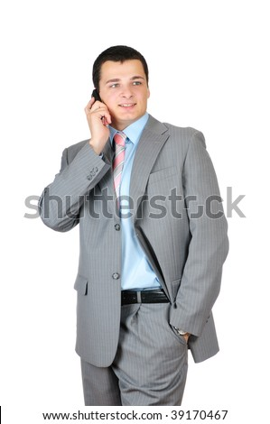 Businessman talking with cell  phone isolated on white background