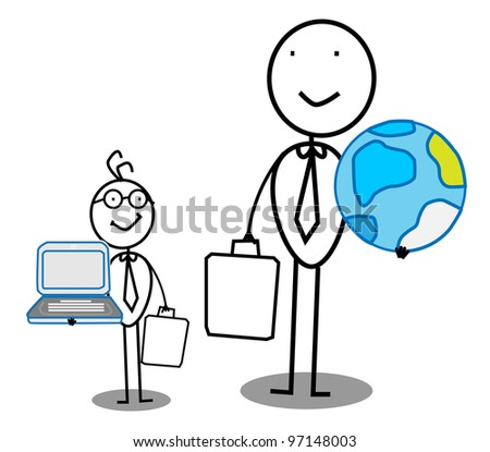 Businessman Team work with world & Connection