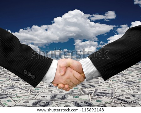 Businessman teamwork partners shaking hands. handshake - stock photo