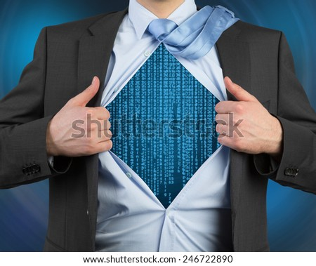 businessman tearing his shirt with matrix symbol - stock photo