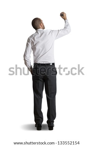 Businessman that write on a blank space - stock photo