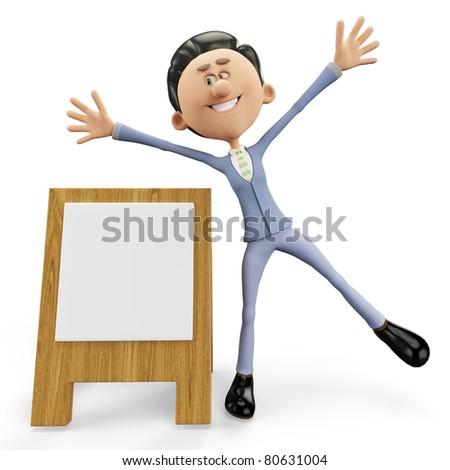 businessman the advertise man - stock photo