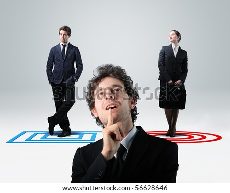 businessman thinik about choise between man or woman