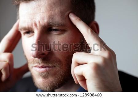 Businessman thinking - stock photo