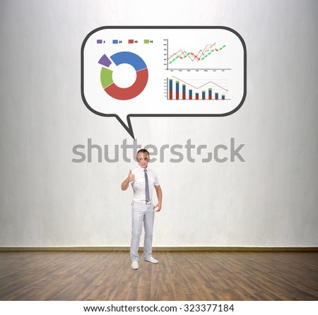 businessman thinking about business and showing thumb up - stock photo