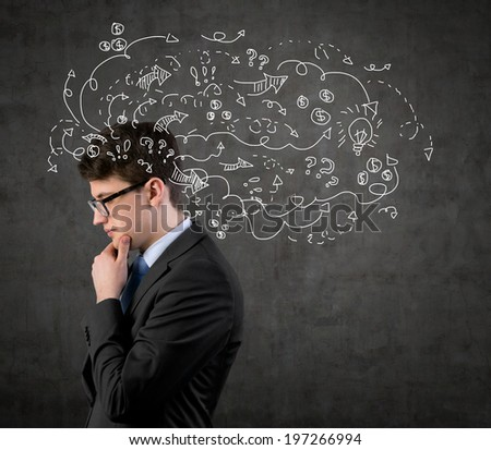 Businessman thinking about business project. - stock photo