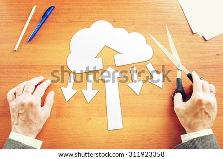 Businessman thinking about cloud computing technology. Abstract conceptual image - stock photo