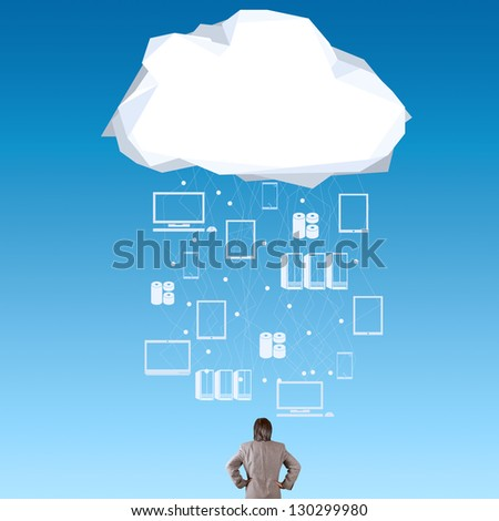 businessman thinking about cloud network idea as concept - stock photo