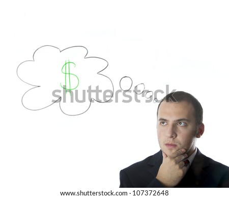 Businessman thinking about money,isolated on white background - stock photo