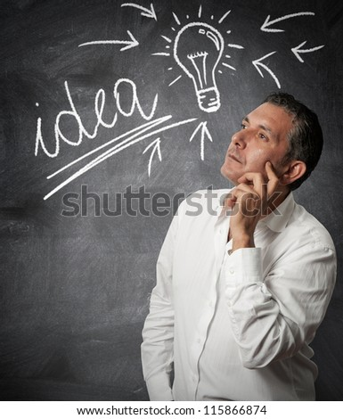 Businessman thinking about new ideas - stock photo