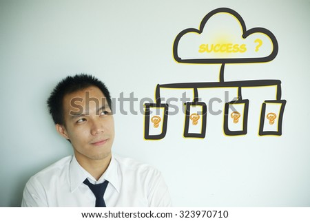 Businessman thinking about success on chart , business idea concept - stock photo