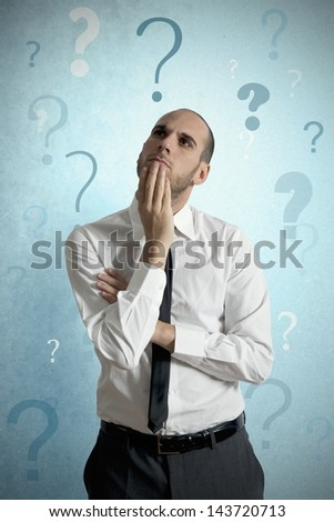 Businessman thinking about the business problem