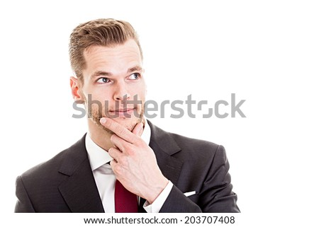 Businessman thinking and looking at empty copyspace