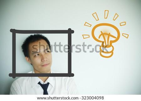 businessman thinking idea , business idea concept - stock photo