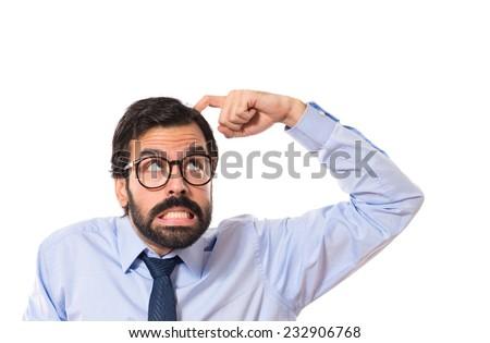 Businessman thinking over white background - stock photo