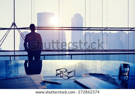 Businessman Thinking Professional Office Corporate Concept - stock photo
