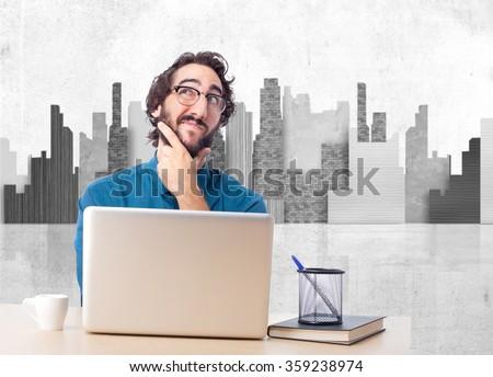 businessman thinking with laptop - stock photo