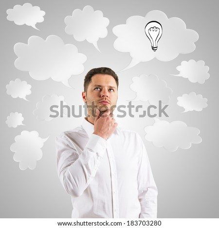businessman  thinking with speech bubble over head - stock photo