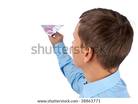 businessman throwing a airplane against white background