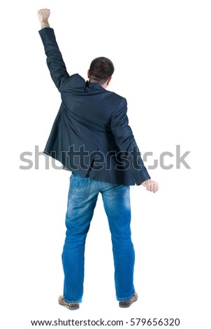 Businessman thumbs up. rear view. Isolated over white