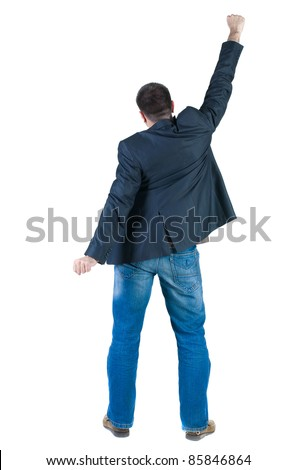 Businessman thumbs up. rear view. Isolated over white .