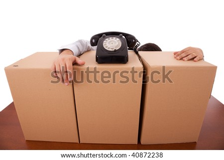 businessman tired with package parcels at the office - stock photo