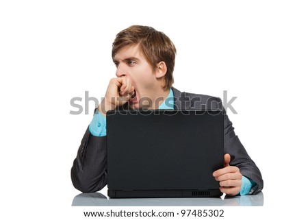 businessman tired yawning, business man cover mouth by hand concept, handsome young man working on laptop, using computer at the desk, wear elegant suit, isolated over white background - stock photo