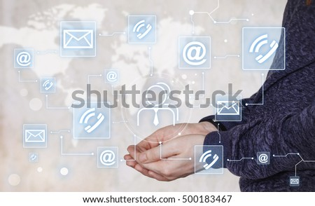 Businessman touch button interface business group icon