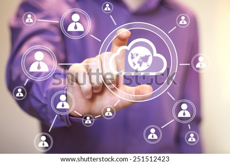 Businessman touch button interface cloud map sign web
