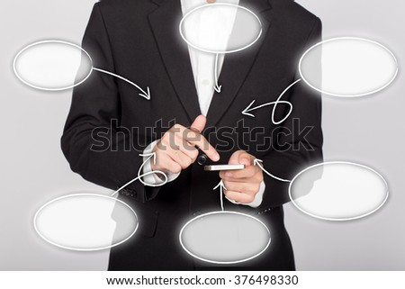 businessman touch center linked reversible process diagram - stock photo