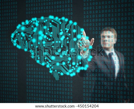 businessman touch circuit board in form of human brain - stock photo