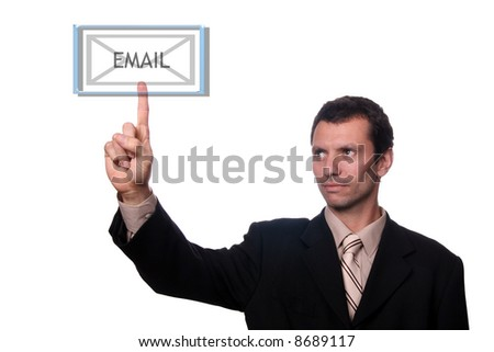 Businessman touch email - stock photo