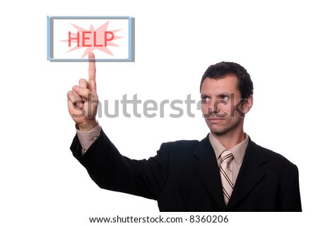 businessman touch help button